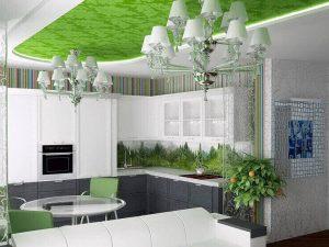 Натяжной потолок на кухню 3